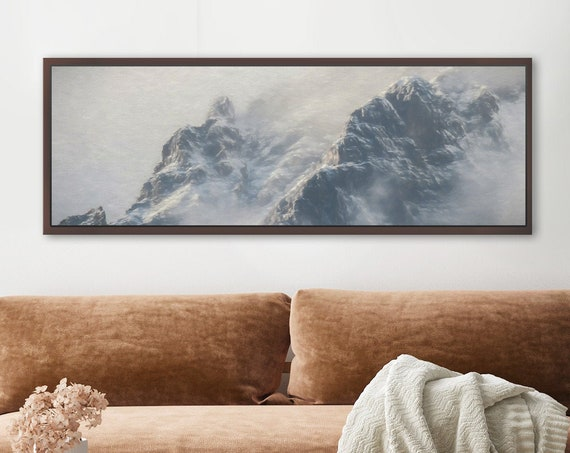 Foggy mountain landscape - black and white minimalist mountain print. Oil painting, large wall art, canvas art, metal print, framed wall art