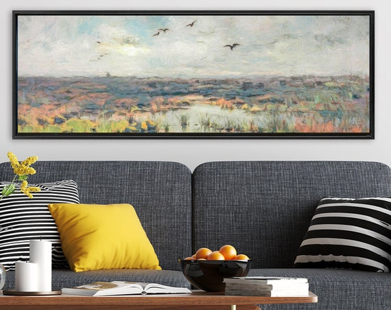 Wetlands Wall Art, Oil Impressionist Landscape Painting On Canvas - Ready To Hang Large Canvas Wall Art Prints With Or Without Float Frames.