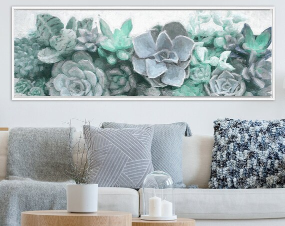 Succulent Wall Art, Oil Painting On Canvas - Large Teal And Blue Botanical Gallery Wrap Canvas Wall Art Print With Or Without Floater Frame.