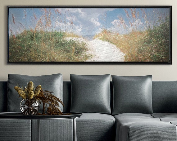 Pampas Grass Wall Art, Oil Landscape Painting On Canvas - Ready To Hang Large Wrapped Canvas Wall Art Prints With Or Without Floating Frames