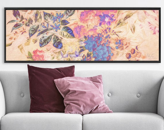 Botanical Wall Art Print. Composition Of Flowers And Leaves, Oil Painting On Canvas - Gallery Wrap Canvas Art With Or Without Floater Frame.