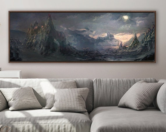 Mountain Wall Art, Oil Landscape Painting On Canvas - Ready To Hang Large Panoramic Canvas Wall Art Prints With And Without Floating Frames.