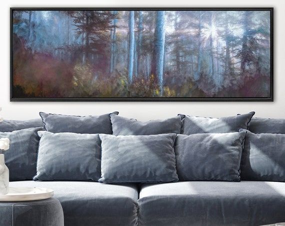 Foggy Forest, Oil Landscape Painting On Canvas - Ready To Hang Large Panoramic Canvas Wall Art Prints With Or Without External Float Frames.