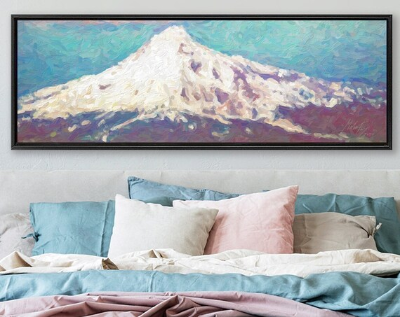 Mount Fuji Wall Art, Oil Landscape Painting On Canvas - Ready To Hang Large Panoramic Canvas Wall Art Prints With Or Without Floating Frames