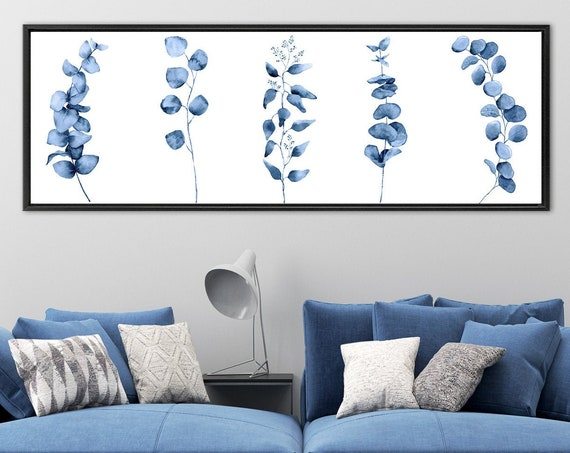 Botanical Print, Navy Blue Watercolor Eucalyptus Wall Art - Large Panoramic Gallery Wrap Canvas Wall Art Prints With Or Without Float Frames