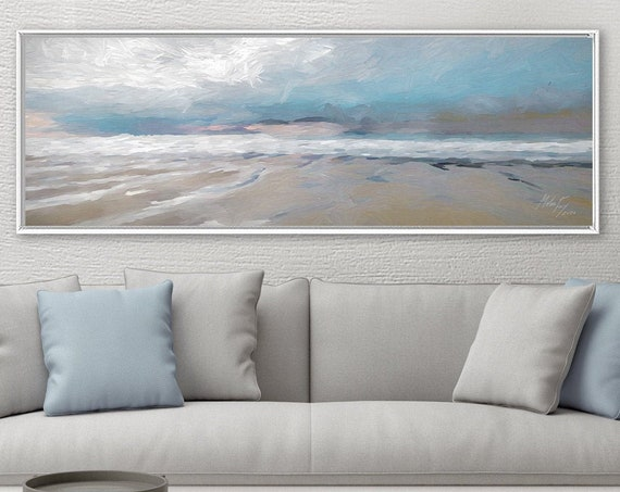 Sea View, Coastal Oil Landscape Painting On Canvas - Ready To Hang Large Gallery Wrap Canvas Wall Art Prints With Or Without Floating Frames
