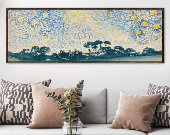 Van Gogh style watercolor landscape painting - ready to hang large panoramic gallery wrap canvas wall art prints with or without float frame