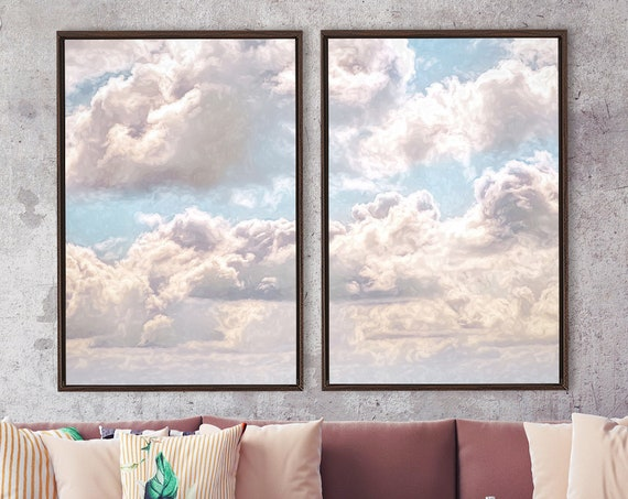 Clouds, celestial oil painting on canvas - set of 2 ready to hang large gallery wrap canvas wall art prints with or without floating frames.