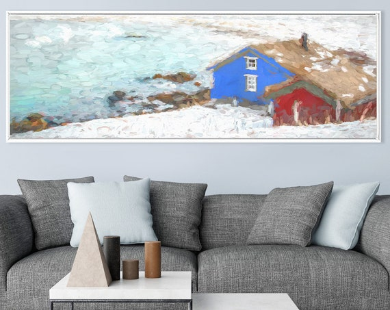 Red white and blue Scandinavian oil landscape painting on canvas - ready to hang large canvas wall art prints with or without floater frames