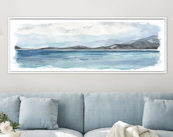 Coastal landscape, large canvas, landscape painting, large wall art, abstract landscape, watercolor print, panoramic wall art, landscape art