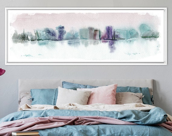 Abstract landscape art, watercolor painting - ready to hang large panoramic gallery wrap canvas wall art print with or without floater frame