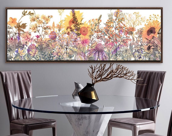 Floral wall art. Flower meadow, watercolor flowers painting - modern fine art print. Large gallery wrap canvas, with or without float frame.