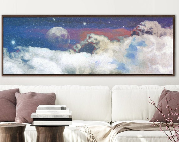Starry night with moon and clouds, celestial oil painting on canvas - large gallery wrap canvas wall art print with or without floater frame
