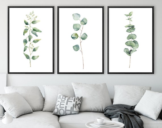 Eucalyptus branch prints, large green botanical watercolor wall art - set of 3 ready to hang canvas art prints with or without float frames.