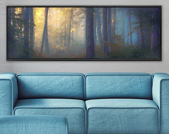 Misty forest wall art, oil landscape painting on canvas - ready to hang large panoramic canvas wall art print with or without floater frame.