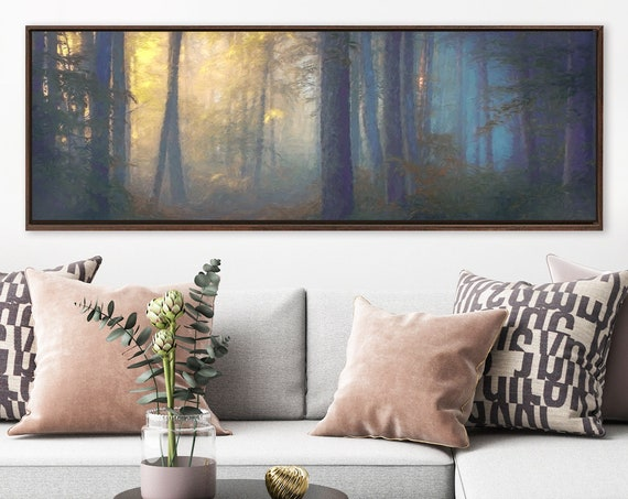 Misty forest wall art, oil landscape painting on canvas - ready to hang large panoramic canvas wall art print with or without floating frame