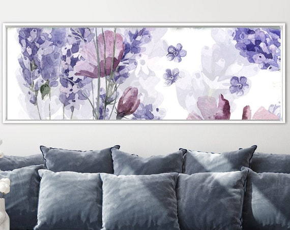 Large Canvas Art. Lavender. Watercolor Flowers Painting. Purple Botanical Wall Art Print. Large Panoramic Canvas And Metal Floral Wall Decor