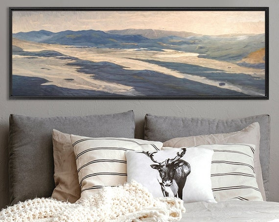 Mountain Wall Art, Oil Landscape Painting On Canvas - Ready To Hang Large Panoramic Canvas Wall Art Prints With, Or Without Floating Frames.