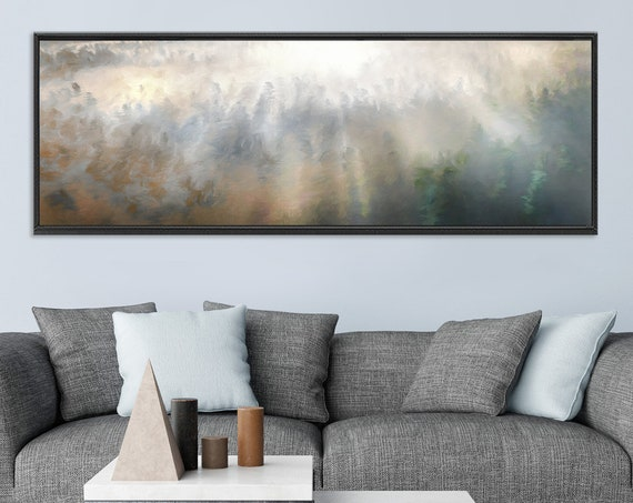 Foggy mountain forest, oil landscape painting on canvas - ready to hang large panoramic canvas wall art print with or without floating frame