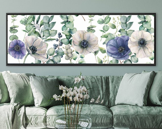 Botanical Art. Eucalyptus And Flowers Watercolor Bouquet. Large Panoramic Gallery Wrap Canvas Wall Art Prints With Or Without Floater Frames