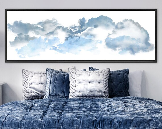 Clouds, blue celestial watercolor painting - ready to hang large panoramic gallery wrap canvas wall art prints with or without float frames.
