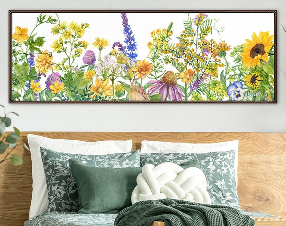 Botanical Wall Art Print. Flower Meadow, Watercolor Flowers Painting - Large Gallery Wrap Canvas Wall Art Prints With Or Without Float Frame