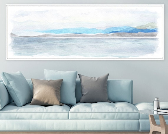 Coastal wall art, watercolor landscape painting - ready to hang large blue panoramic canvas wall art prints with or without floating frames