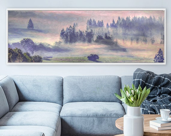 Foggy Morning Sunrise Wall Art, Oil Landscape Painting On Canvas - Ready To Hang Large Canvas Wall Art Prints With Or Without Floater Frames