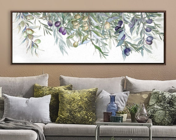 Olive Tree Branches Wall Art, Green Botanical Oil Painting On Canvas - Large Wrapped Canvas Wall Art Prints With Or Without Floating Frames.