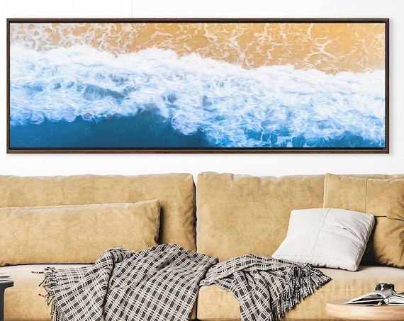 Waves and sea foam on the beach, coastal oil painting on canvas - large panoramic gallery wrap canvas wall art print, with or without frame.