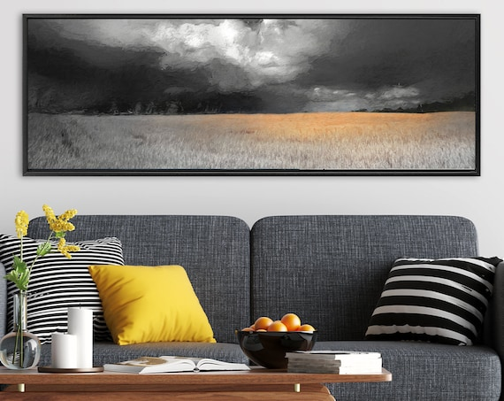 Burnt orange and gray oil landscape painting on canvas - ready to hang large panoramic canvas wall art print, with or without floater frame.