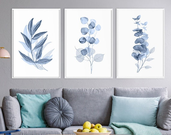 Botanical art, navy blue wall art, eucalyptus print, large wall art, watercolor print, botanical watercolor, large canvas art, indigo print.