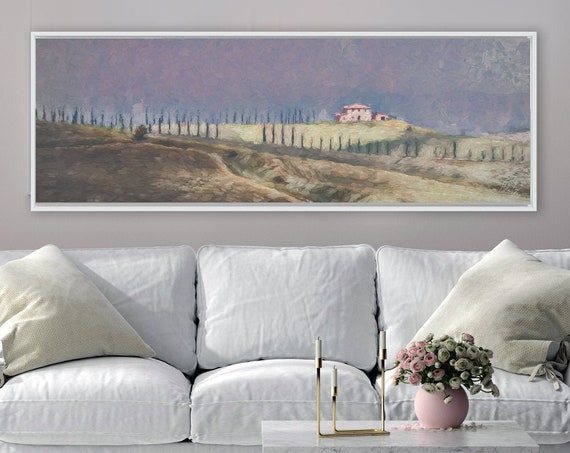 Tuscan cypress hill landscape, oil painting on canvas - ready to hang large panoramic canvas wall art prints with or without floater frames.