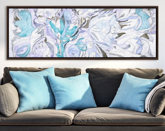 Floral wall art, abstract oil painting on canvas - ready to hang large panoramic canvas fine art prints with or without external float frame