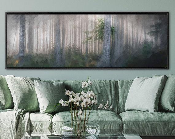 Foggy Forest, Oil Landscape Painting On Canvas - Ready To Hang Large Panoramic Canvas Wall Art Print With Or Without External Floater Frame.