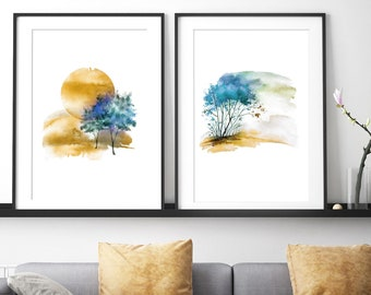 Abstract landscape, large wall art, landscape watercolor, large abstract art, watercolor art, modern painting, modern abstract art, wall art