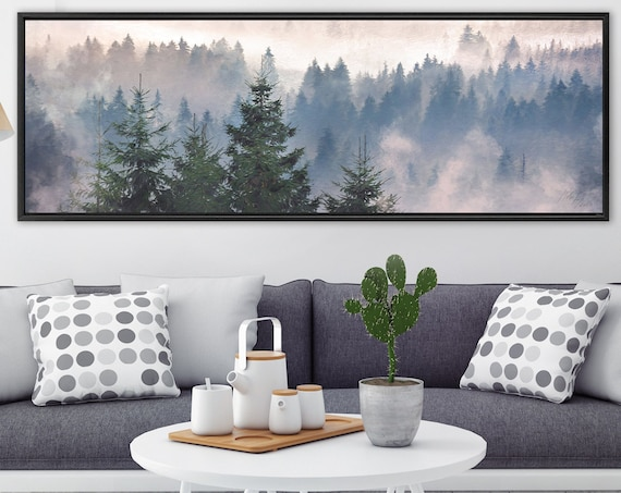 Foggy Mountain Forest, Oil Landscape Painting On Canvas - Ready To Hang Large Panoramic Canvas Wall Art Prints With Or Without Floater Frame