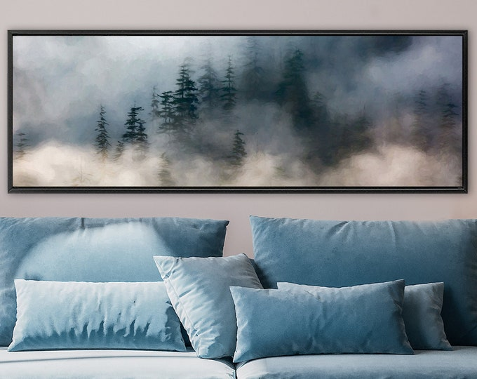 Featured listing image: Foggy mountain forest, oil landscape painting on canvas - ready to hang large panoramic canvas wall art print with or without floater frame.