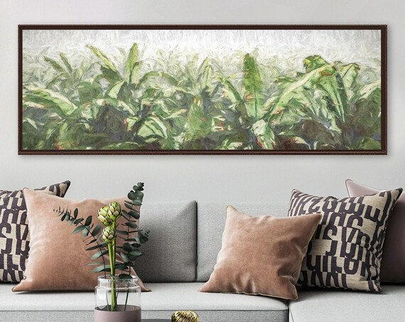 Tropical art, oil landscape painting on canvas - ready to hang large gallery wrapped canvas wall art prints with or without floating frames.