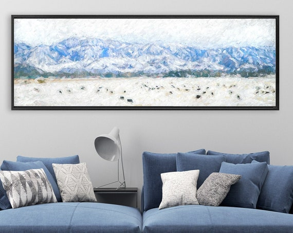 Mountains and bison in the snow, oil painting landscape - ready to hang large panoramic canvas wall art prints with or without floater frame