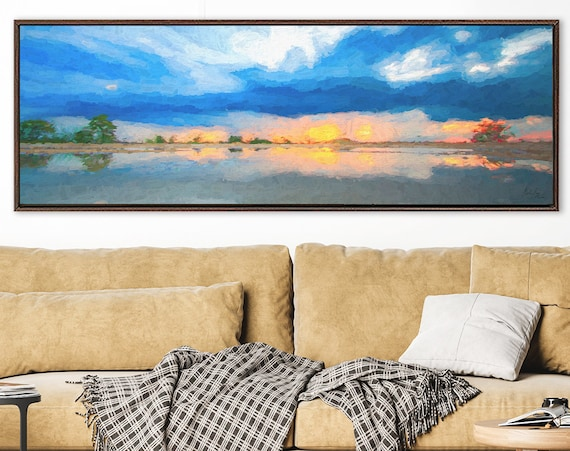 Sunrise , oil landscape painting on canvas - ready to hang large gallery wrap canvas wall art prints with or without external floater frames