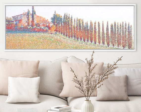 Tuscan landscape, cypress road, oil painting on canvas - ready to hang large panoramic canvas wall art prints with or without floater frames
