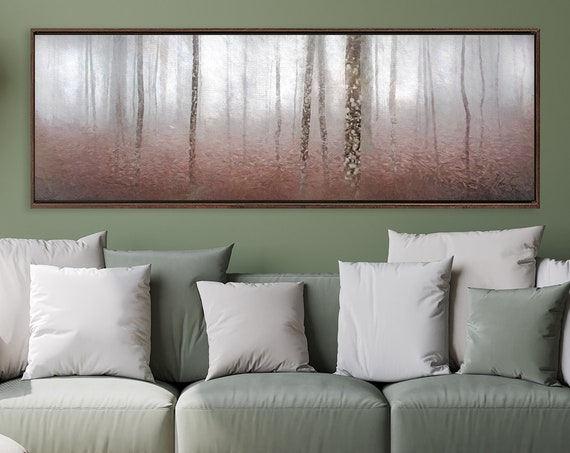 Autumn Forest Landscape, Oil Painting On Canvas - Ready To Hang Large Panoramic Canvas Wall Art Print With Or Without External Floater Frame