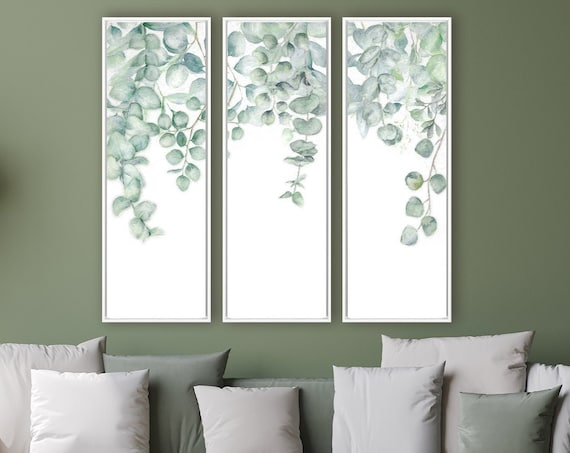 Eucalyptus wall art, large oil paintings on canvas - set of 3 ready to hang gallery wrap canvas wall art prints with or without float frames