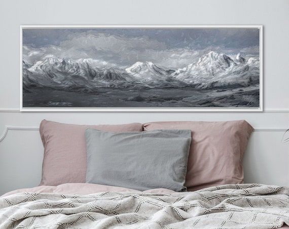 Mountain Wall Art, Oil Landscape Painting On Canvas - Ready To Hang Large Panoramic Canvas Wall Art Prints, With Or Without Floating Frames.