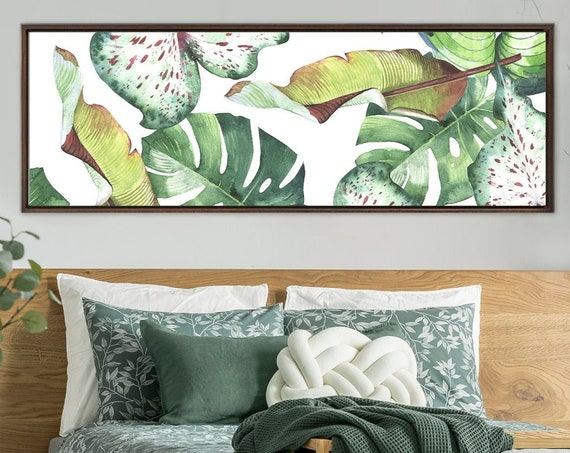 Botanical Print - Palm Leaf, Monstera Leaf, And Banana Leaf Watercolor Painting. Gallery Wrap Canvas Wall Art With Or Without Floater Frame.