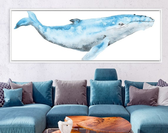 Humpback whale, blue & gray nautical watercolor wall art - ready to hang large panoramic canvas wall art prints with or without float frames