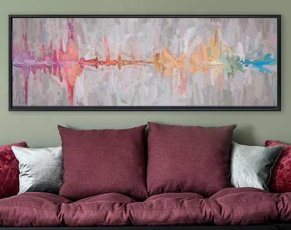 Sound wave art, modern abstract oil painting on canvas - ready to hang large panoramic canvas wall art prints with or without floater frames