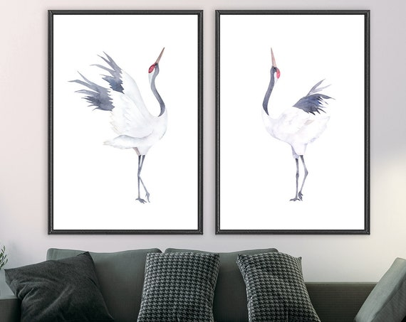 Cranes watercolor painting - minimalist wall art, set of 2 ready to hang gallery wrap canvas wall art prints with or without floater frames.