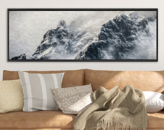 Foggy mountain landscape oil painting on canvas - ready to hang large gray gallery wrap canvas wall art print with or without floater frame.